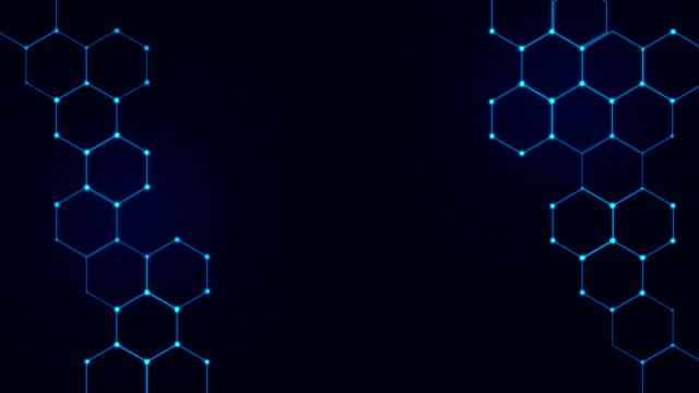 4k hexagons technological background - esagono video stock e b–roll
