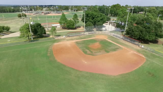 Hi Aerial view of a baseball field in sporting complex video