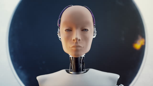 Hi Tech Futuristic Electronic Portrait in Sci-fi Humankind White Isolated Scene Concept of Futuristic Humanoid Female in the Style of Metal and Wires. Hi Tech Electronic Portrait in Sci-fi Humankind White Isolated Scene. Realistic Reflection Background. 4K Rendering 3d Computing cyborg stock videos & royalty-free footage