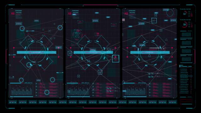 vídeos de stock e filmes b-roll de hi tech user interface head up display - ecrã tátil