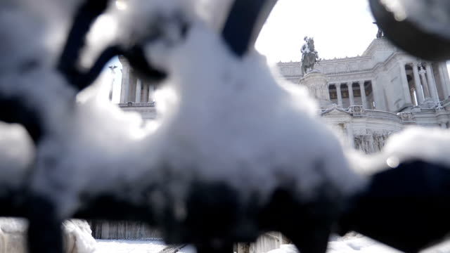 Hide view of Vittoriano covered with snow-Rome, Italy Hide view of Vittoriano covered with snow-26 February 2018, Rome, Italy neoclassical architecture stock videos & royalty-free footage
