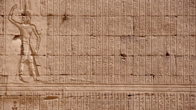 hieroglyphics, temple of edfu, egypt - tempio video stock e b–roll