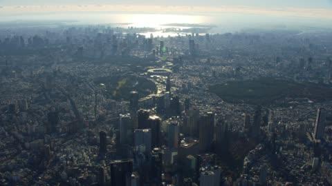 vidéos et rushes de vue aérienne de haute altitude de tokyo. - en haut