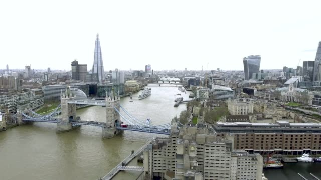 High Angle Aerial View of Tower Bridge, Thames River, The Shard London Skyline video
