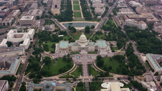 High angle aerial view of US Capitol building.