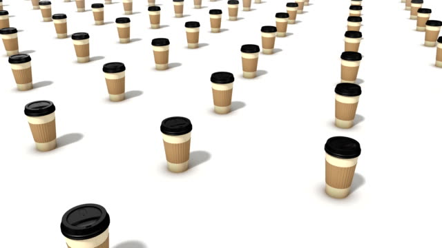 High angle arc pull back revealing endless Coffee Cups video