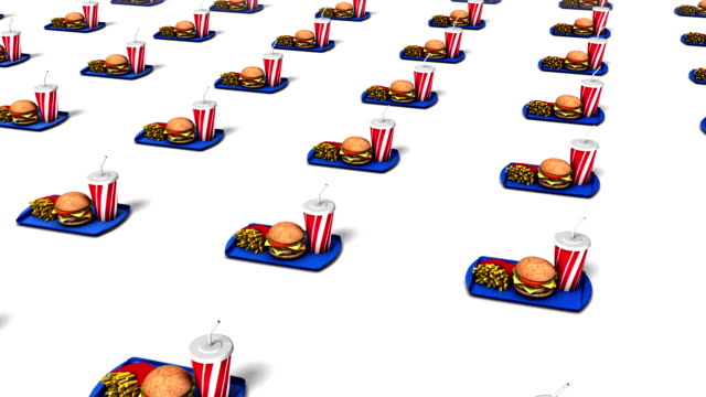 High angle arc pull back revealing endless Fast Foods video