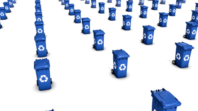 High angle arc pull back revealing endless Recycle Bins (Blue) video