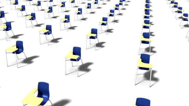 high angle arc pull back revealing endless school chairs (blue) - digital device classroom bildbanksvideor och videomaterial från bakom kulisserna