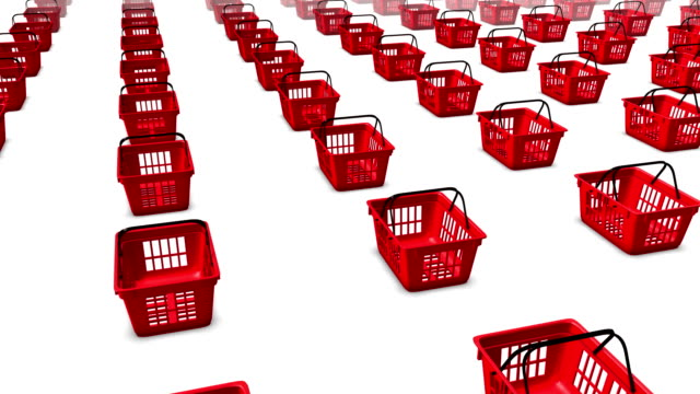 High angle arc pull back revealing endless Shopping Baskets video