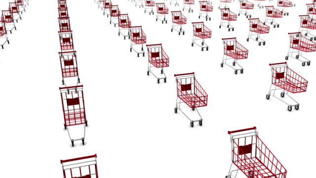 High angle arc pull back revealing endless shopping carts video