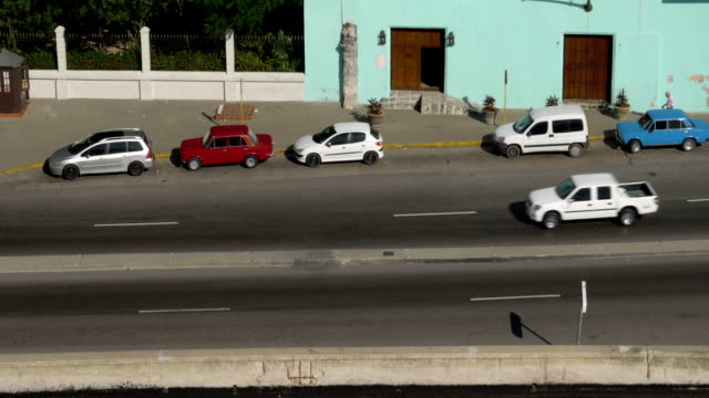 High Angle Establishing Shot of Havana Cuba Street Traffic video