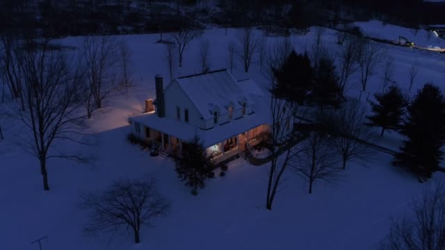 High Angle Flyover of Pennsylvanian Farm House in Winter video