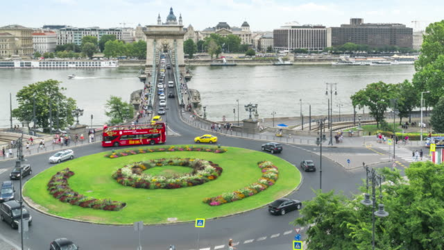 high angle front tilt view TL: traffic jam on Szechenyi Chain Bridge and St Stephen's Basilica in Budapest, Hungary in weekend high angle front tilt view TL: traffic jam on Szechenyi Chain Bridge and St Stephen's Basilica in Budapest, Hungary in weekend hungary stock videos & royalty-free footage