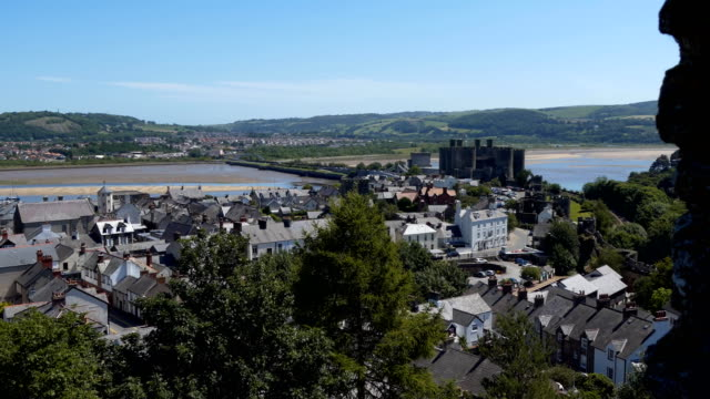 High angle panning shot of town Conwy Conway in Wales