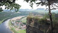 istock High angle panning view from Basteiaussicht, beautiful viewpoint on mountain peak including rock top castle ruin, Neurathen Castle: small Village around Kurort Rathen railway station on a curve of Elbe river with boat port in Germany in a weekend. 1286471885