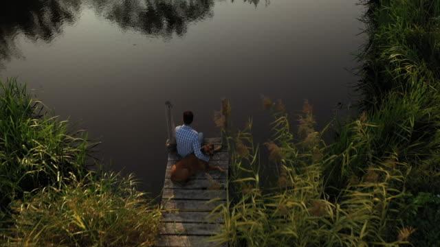 vista posteriore ad angolo alto del giovane uomo e cane caucasico sul molo - sussex occidentale video stock e b–roll
