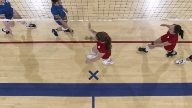High angle shot of volleyball teams congratulating each other after a match High angle shot of volleyball teams congratulating each other from opposite sides of the net after a match volleyball sport stock videos & royalty-free footage