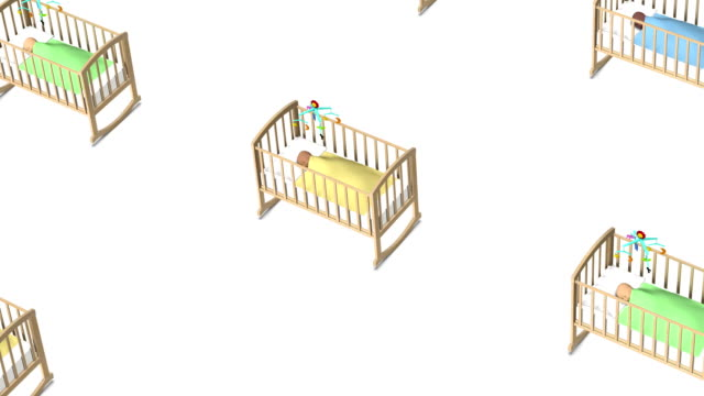 High angle up from single Baby in Crib revealing many video
