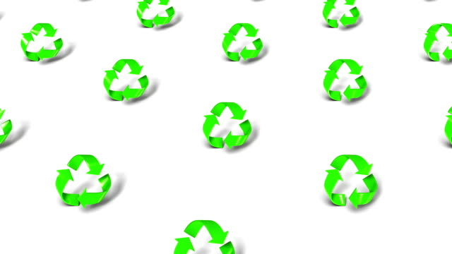High angle up from single Recycle symbol revealing many video