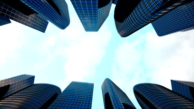High Angle Vertical approach to a Cities Resolution to Urban Living with Skyscrapers, Office blocks, and Apartments, 3D rendering animation video