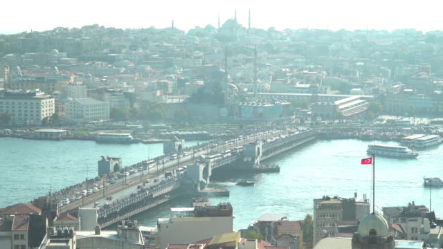 High angle view: Beautiful View touristic landmarks and transportation around Galata bridge at Istanbul in day that covering air pollution