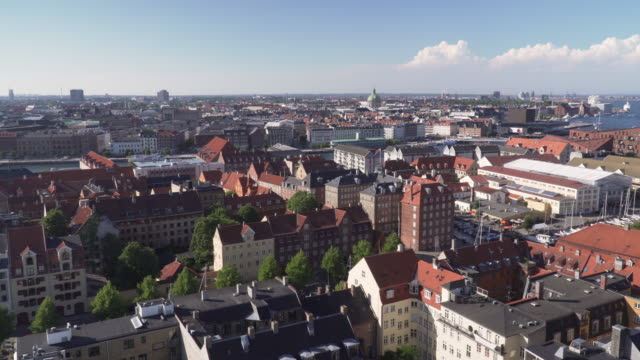 high angle view: Copenhagen city from view point on Church of Our Saviour, Denmark high angle view: Copenhagen city from view point on Church of Our Saviour, Denmark in summer 2018 denmark stock videos & royalty-free footage