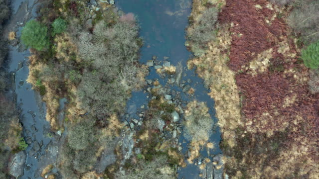 High angle view of a rocky Scottish river with a low water level in remote Dumfries and Galloway. video