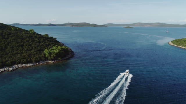 High angle view of a speedboat in the mediterranean sea video