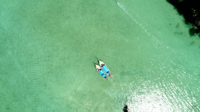 High angle view of beautiful lagoon in Thailand, drone shot video
