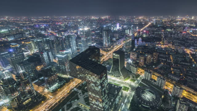 T/L WS HA TD High Angle View of Beijing Skyline at Night / Beijing, China video