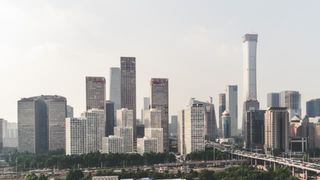 t/l ha pan high angle view of beijing skyline - città diffusa video stock e b–roll