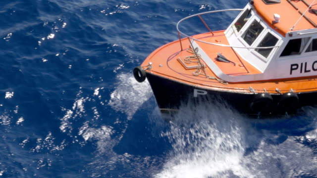 High Angle View of Bow of Small Pilot Boat video