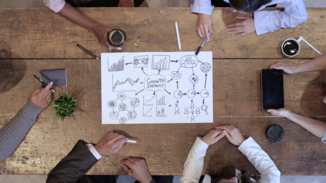 Video High Angle View of Business Development Team in Strategy Meeting
