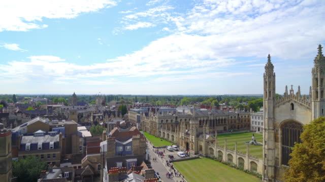 High angle view of Cambridge City, UK - vídeo