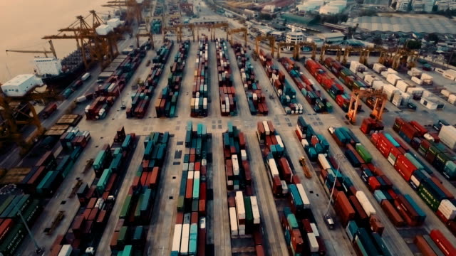 High angle view of cargo containers video