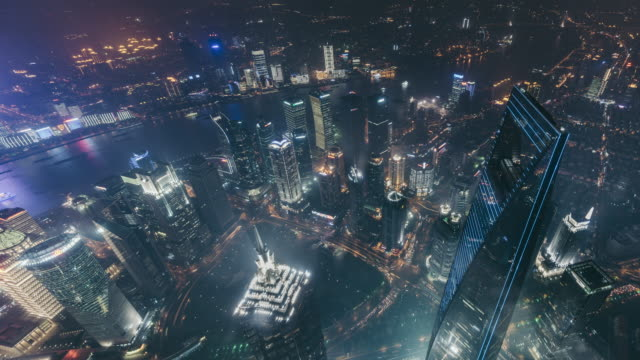 T/L WS HA High Angle View of Downtown Shanghai at Night / Shanghai, China video