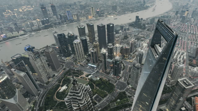T/L WS HA ZO High Angle View of Downtown Shanghai, Day to Dusk / Shanghai, China video