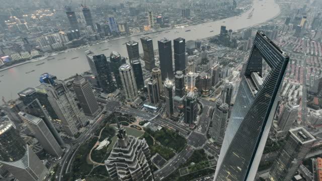 vídeos y material grabado en eventos de stock de t/l ws ha zo alto ángulo de visión de shanghai centro día atardecer / shanghai, china - prosperidad