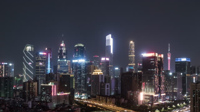 t/l ws tu high angle view of guangzhou skylinek, from dusk to night / guangdong, china - international architecture stock videos & royalty-free footage