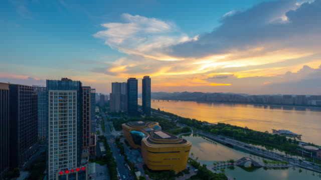 high angle view of Hangzhou city skyline day to night time lapse of downtown hangzhou sunset to night time lapse stock videos & royalty-free footage
