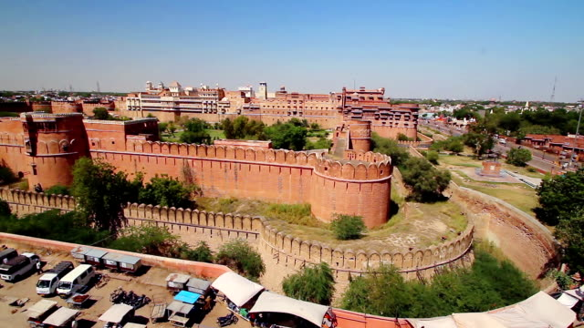 High angle view of Junagarh Fort, Bikaner, Rajasthan, India - panning shot video