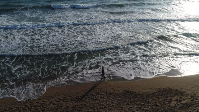 High angle view of man walking on the beach video