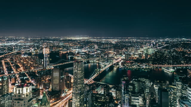 T/L High Angle view of Manhattan Skyline at Night video