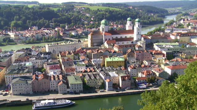 High Angle View of Passau in Bavaria PAN video