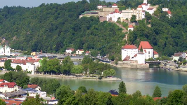 High Angle View of Passau with Veste Oberhaus PAN video