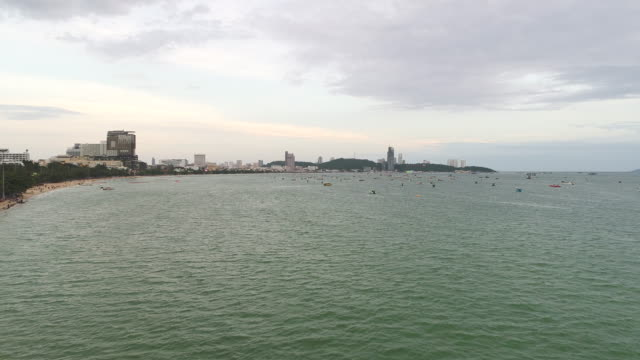High angle view of Pattaya Bay, The famous seaside town in Chonburi Province video