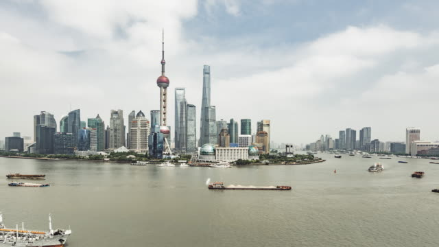 T/L WS HA PAN High Angle View of Shanghai Skyline / Shanghai, China video