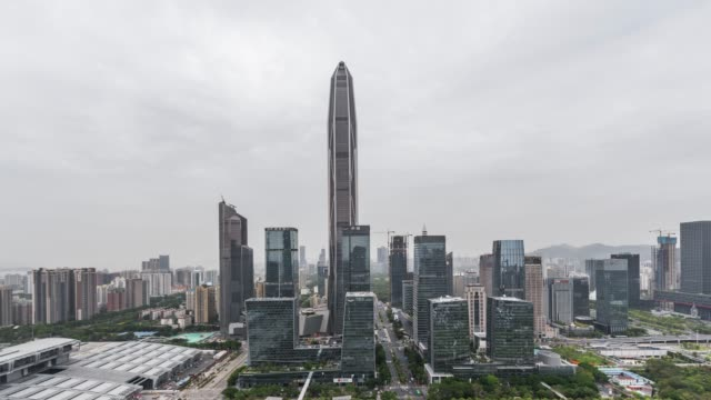 T/L WS HA ZO High Angle View of Shenzhen Skyline / Guangdong, China video
