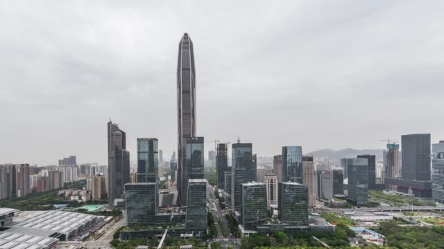 T/L WS HA PAN High Angle View of Shenzhen Skyline / Guangdong, China video